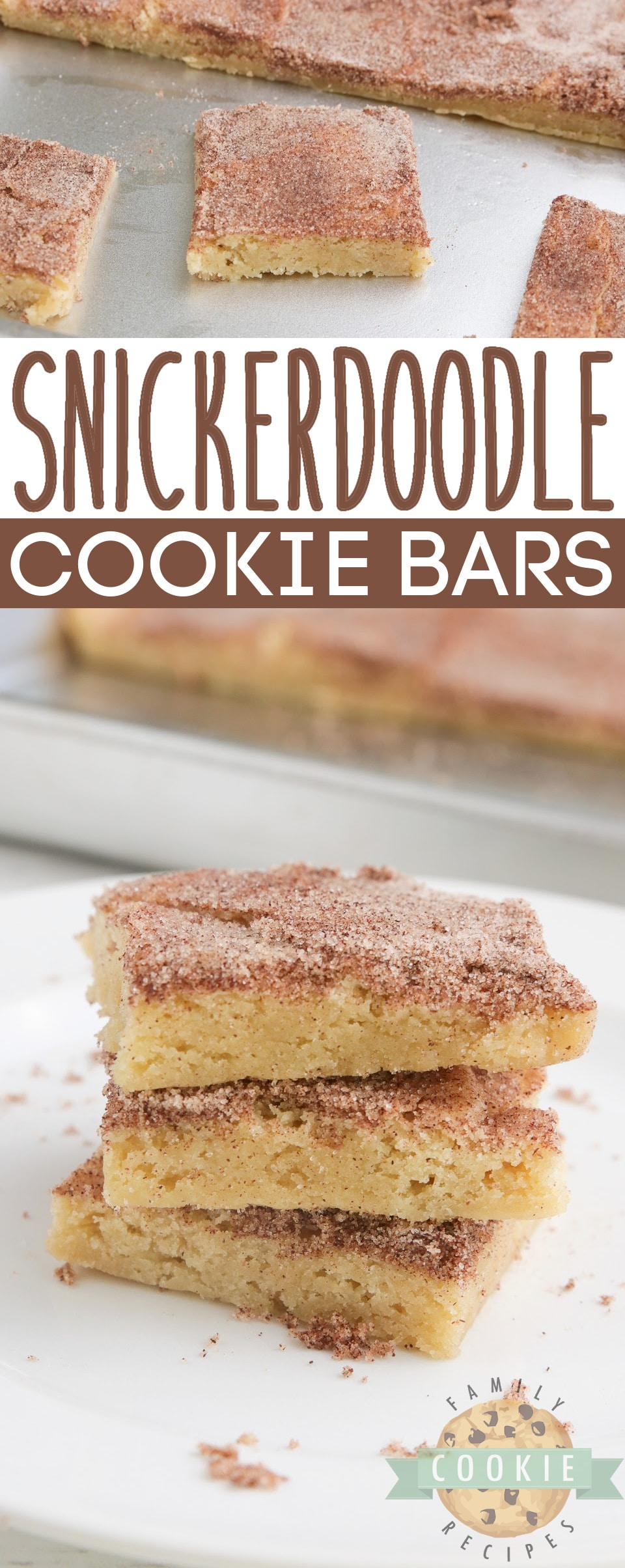 Snickerdoodle Cookie Bars are soft, delicious and packed with that cinnamon flavor we all love! Simple snickerdoodle recipe that is made in a sheet pan and can be easily sliced and served.
