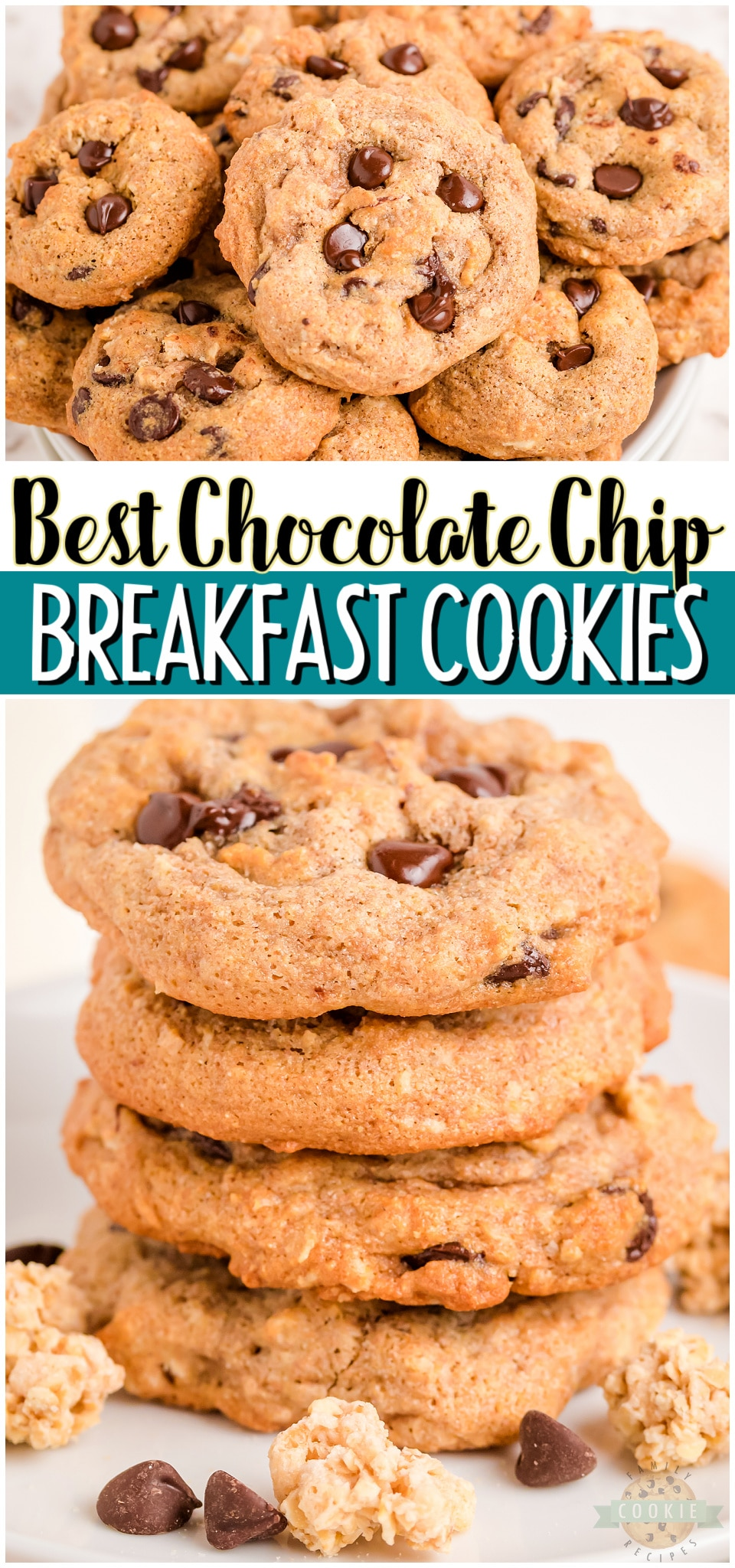 Breakfast chocolate chip cookies are a perfect snack that you can feel good about. Whole wheat flour, applesauce, granola, & dark chocolate combine to make tasty low-calorie & low sugar cookies! #breakfast #cookies #chocolatechip #baking #lowsugar #lowcal #easyrecipe from FAMILY COOKIE RECIPES via @familycookierecipes