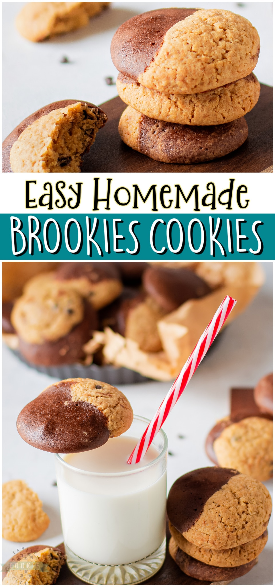 Brookies Cookies are the BEST combination of brownies & chocolate chip cookies! Homemade Brookies with great buttery, chocolate flavor for the perfect dessert! via @familycookierecipes
