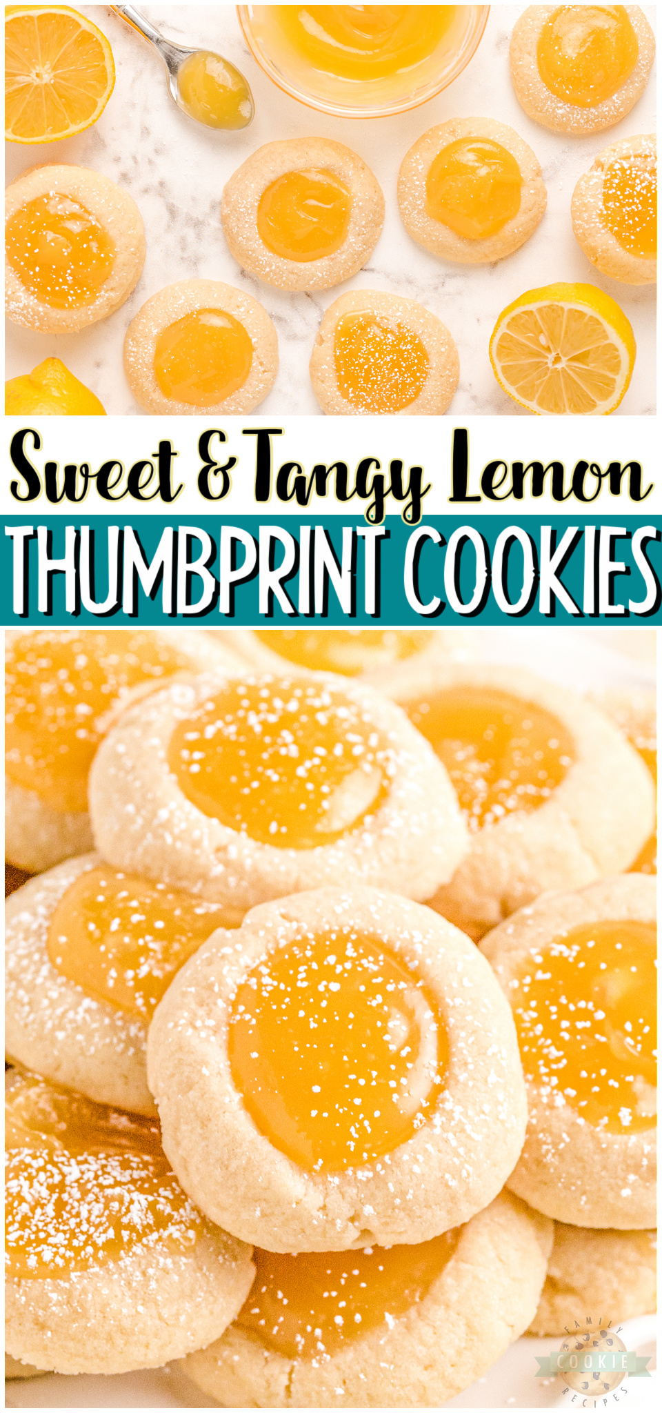 Lemon thumbprint cookies made with buttery soft cookies & filled with creamy lemon curd! Perfectly sweet & tart thumbprint cookies with bright lemon flavor.#lemon #cookies #thumbprints #baking #dessert #easyrecipe from FAMILY COOKIE RECIPES via @familycookierecipes
