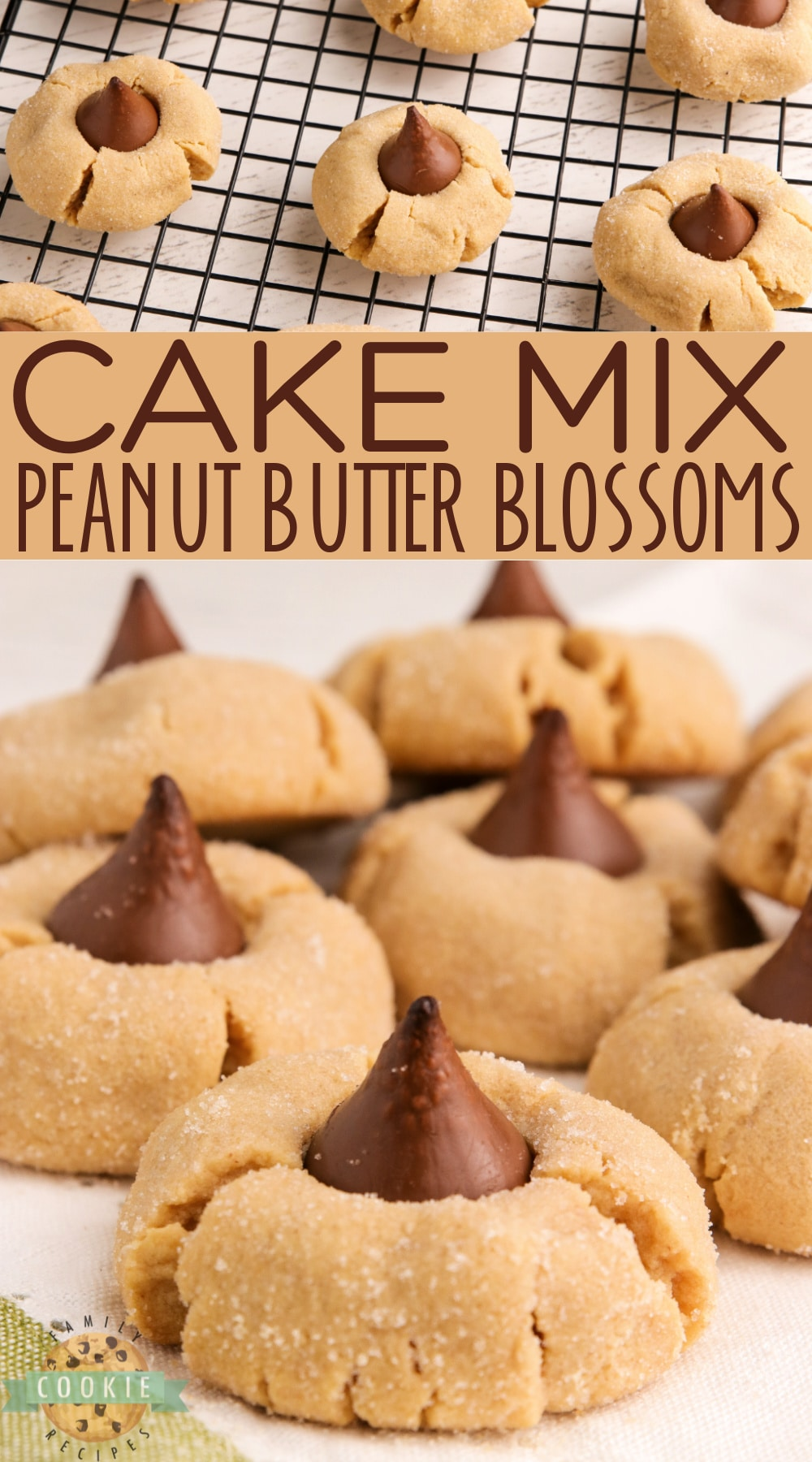 Cake Mix Peanut Butter Blossoms made with a cake mix, peanut butter and a Hershey kiss right in the middle. The easiest way to make Peanut Butter Blossom Cookies! via @familycookierecipes