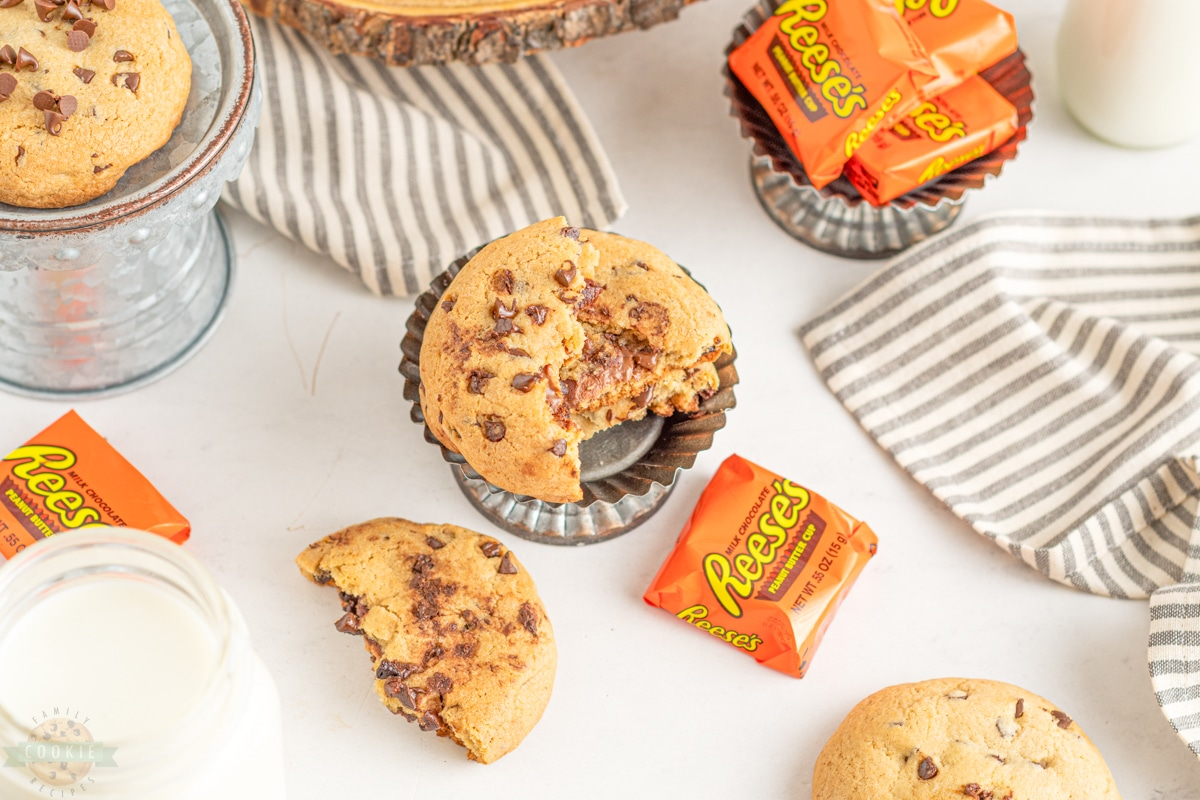 reese's peanut butter cups with reese's stuffed chocolate chip cookies