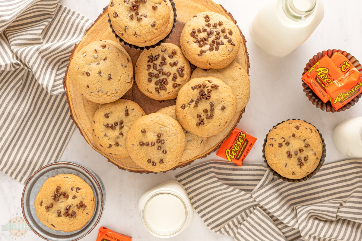big fat chocolate chip cookies with reese's stuffed inside