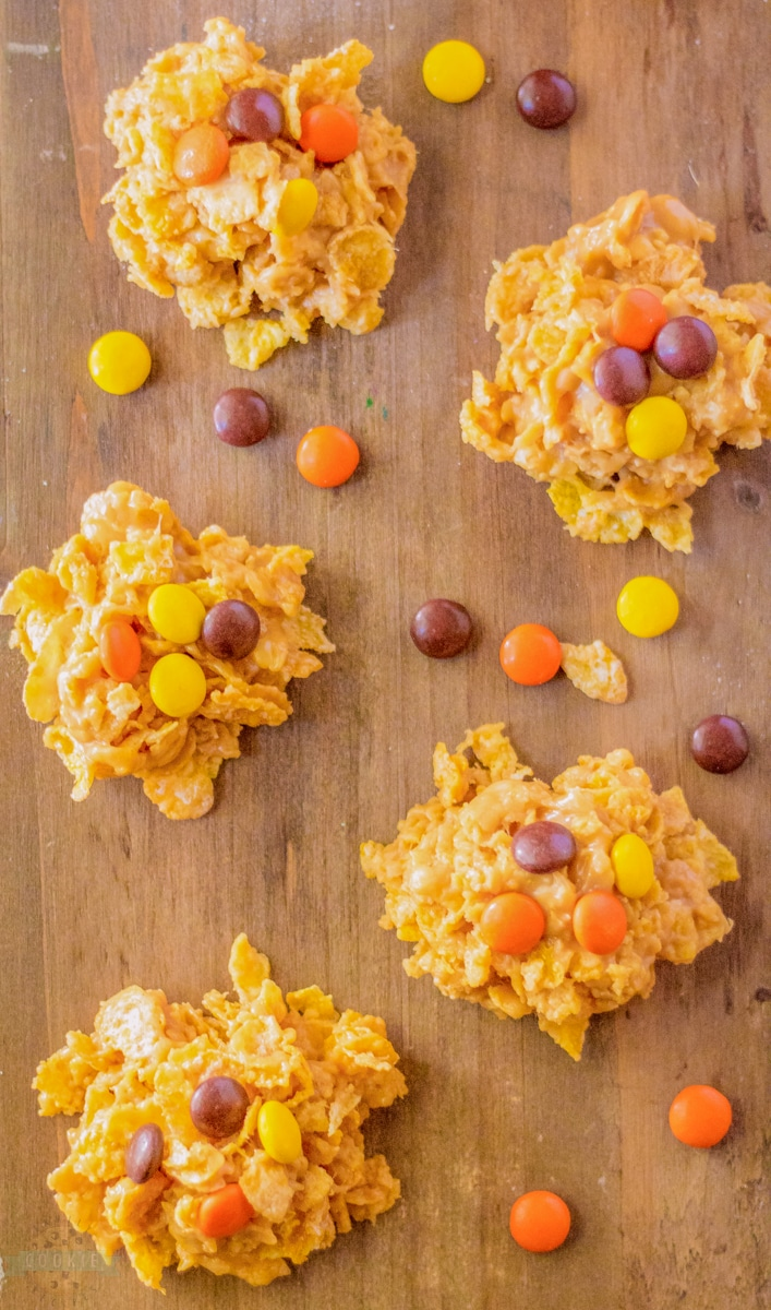 cornflake no bake cookies on a wooden board