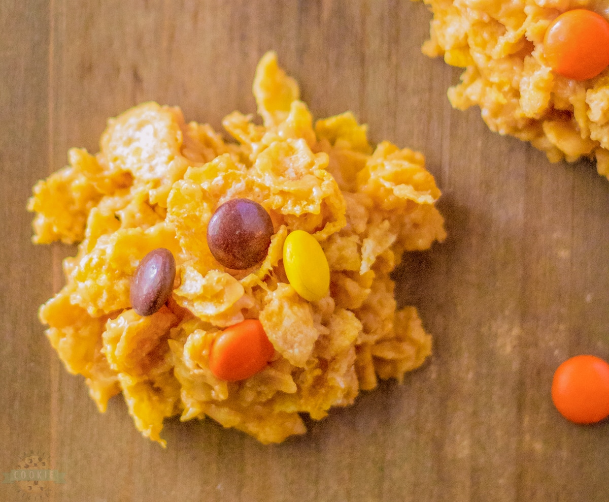 cornflake no bake cookies with Reese's Pieces candy on top