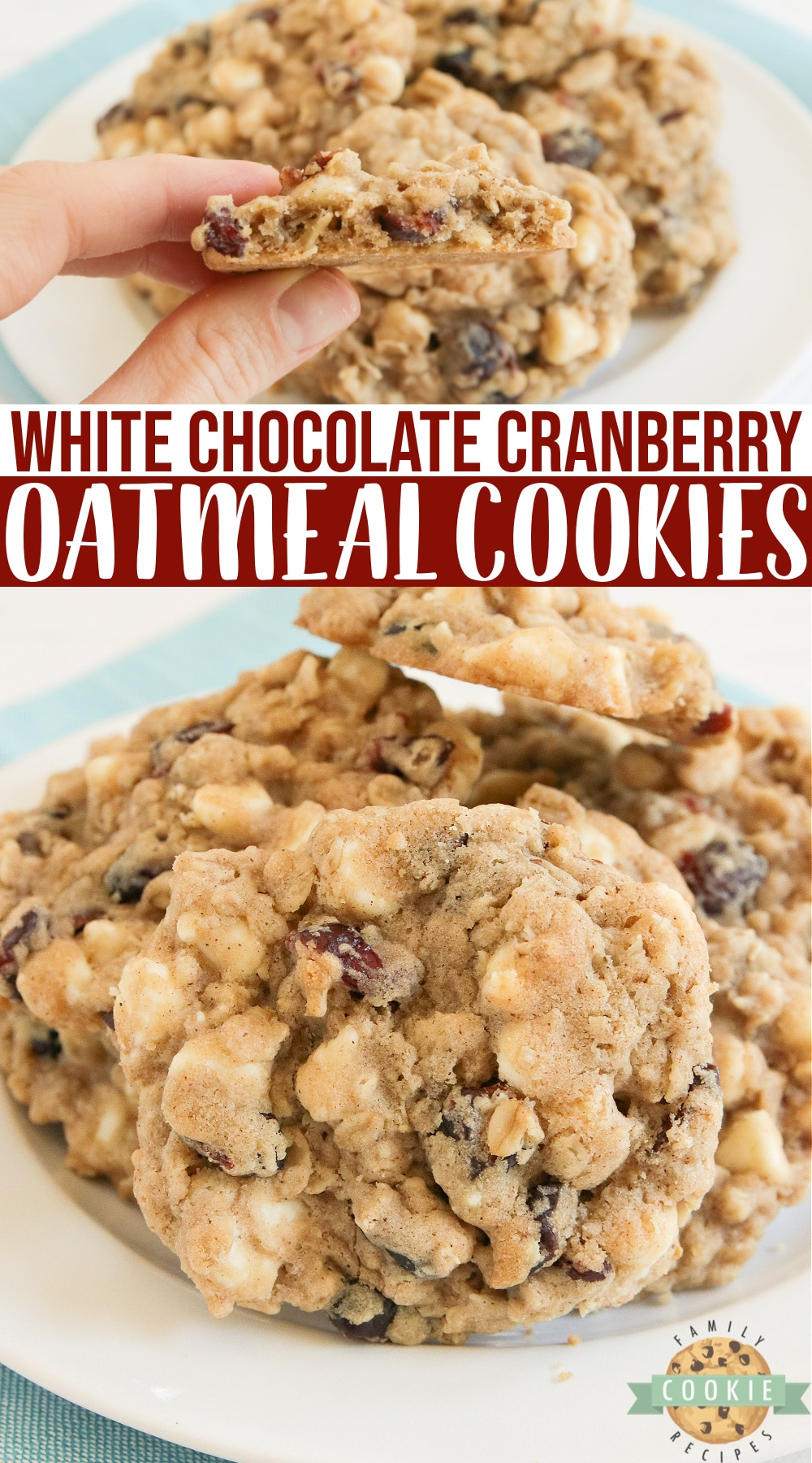 White Chocolate Cranberry Oatmeal Cookies are a classic favorite - soft, chewy oatmeal cookies packed with dried cranberries and white chocolate chips. via @buttergirls