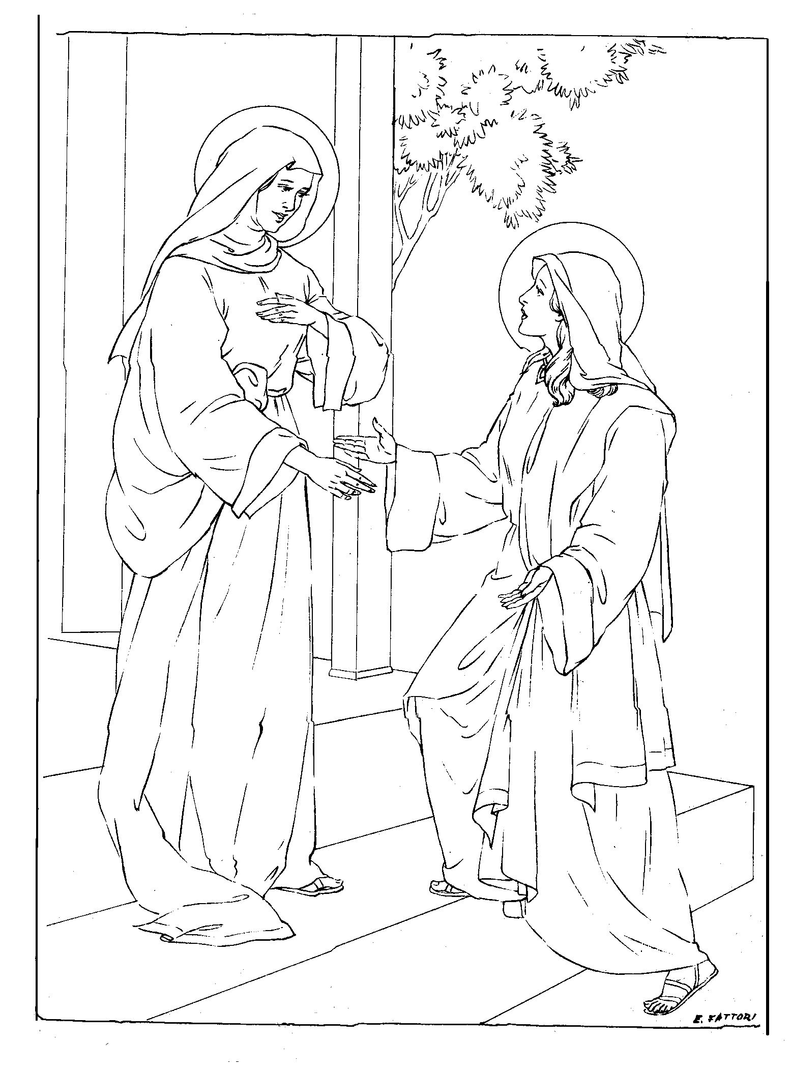 visitation coloring page  u2014 family in feast and feria