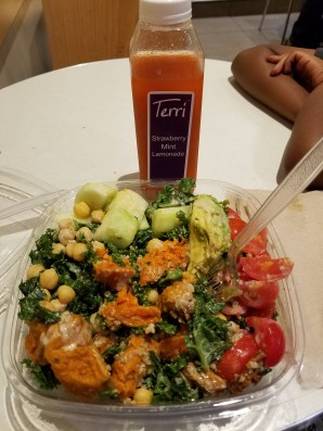 A delicious super food salad and strawberry mint lemonade from Terri.