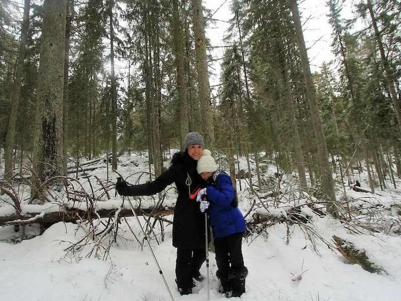 Mother Daughter Nuuksio National Park snow winter