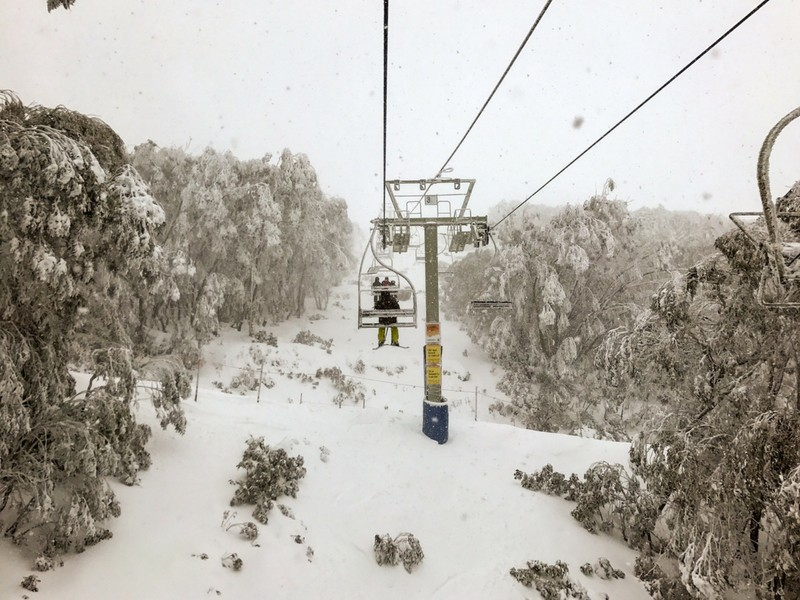 Skiing In A Thundersnow Storm In Falls Creek, Australia by 9-Year-Old