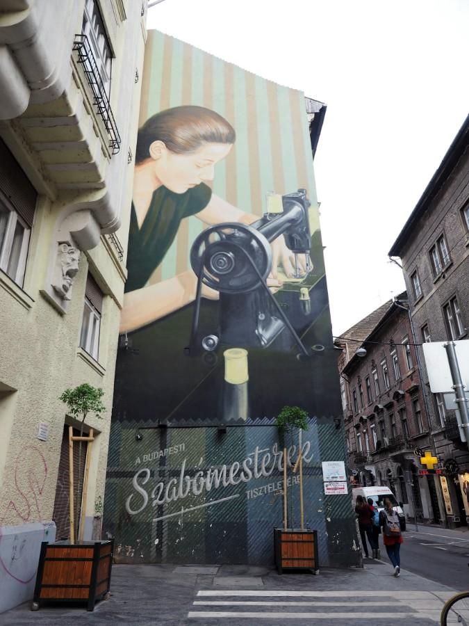 Seamstress Street Art in Budapest