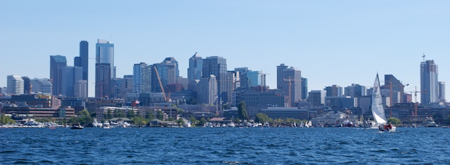 Seattle's beautiful skyline as seen from the lake