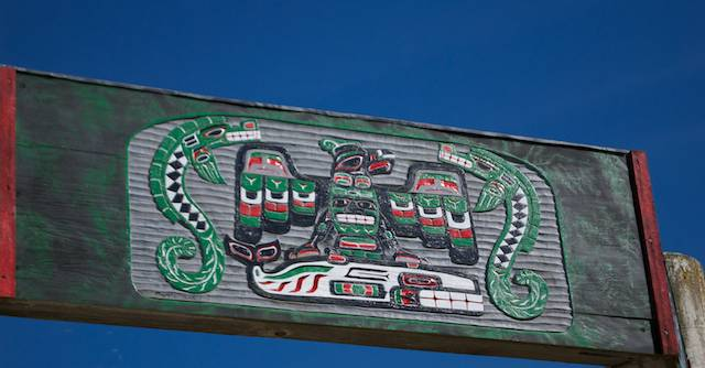 One example of the beautiful stylized Makah signs seen at town