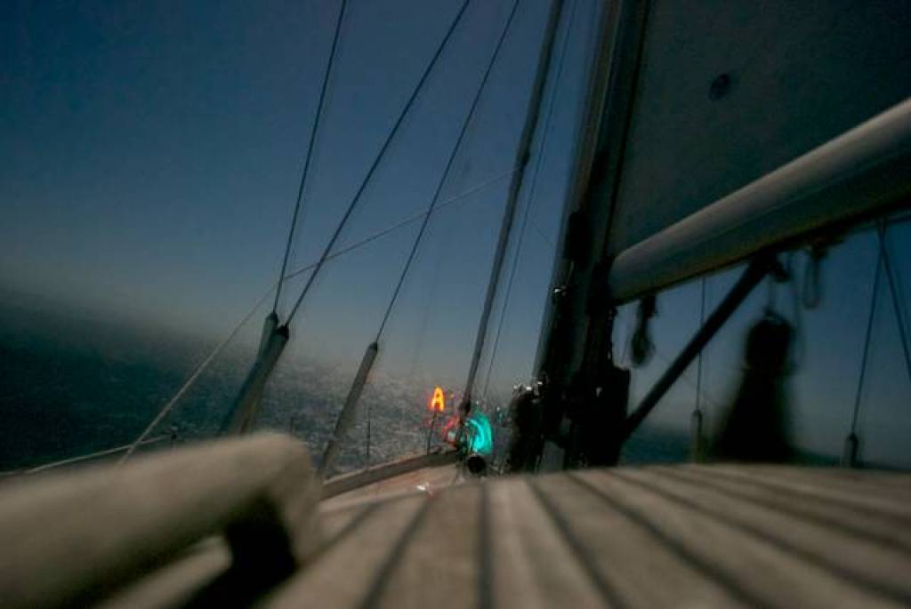 Fantastic sailing conditions in the middle of the night, under a bright moon.