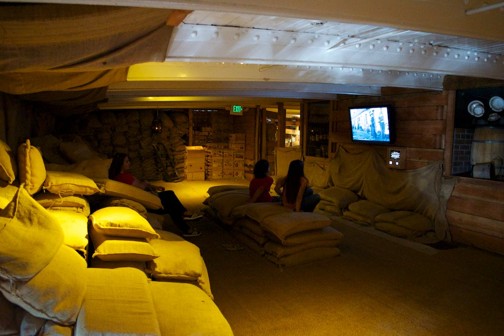 The Park installed three movie stations inside the ship, covering Balclutha's career. The kids wanted to watch them all.