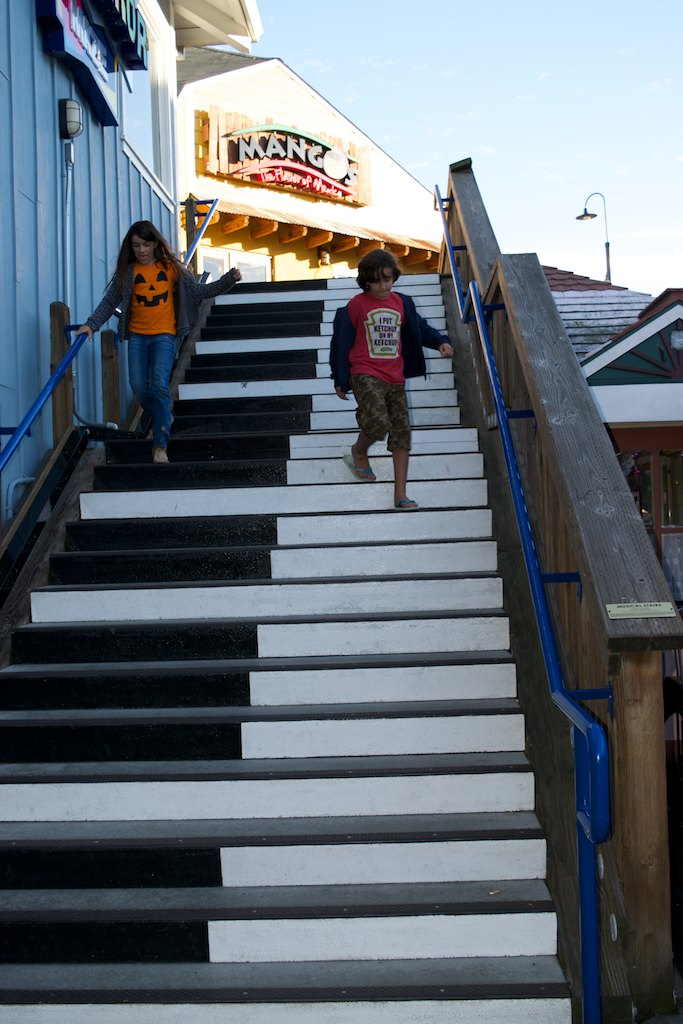 At Pier 39 ... one of the attractions was the Musical Stairs. Each step being a piano's key, activated by motion censors. The kids spent a loooong time playing with it.