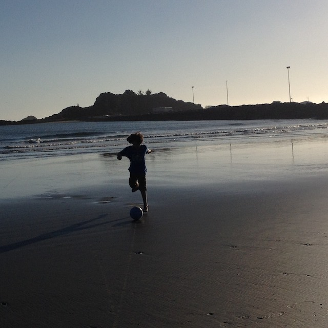 Paulo playing with his ball at the beach just before the incident
