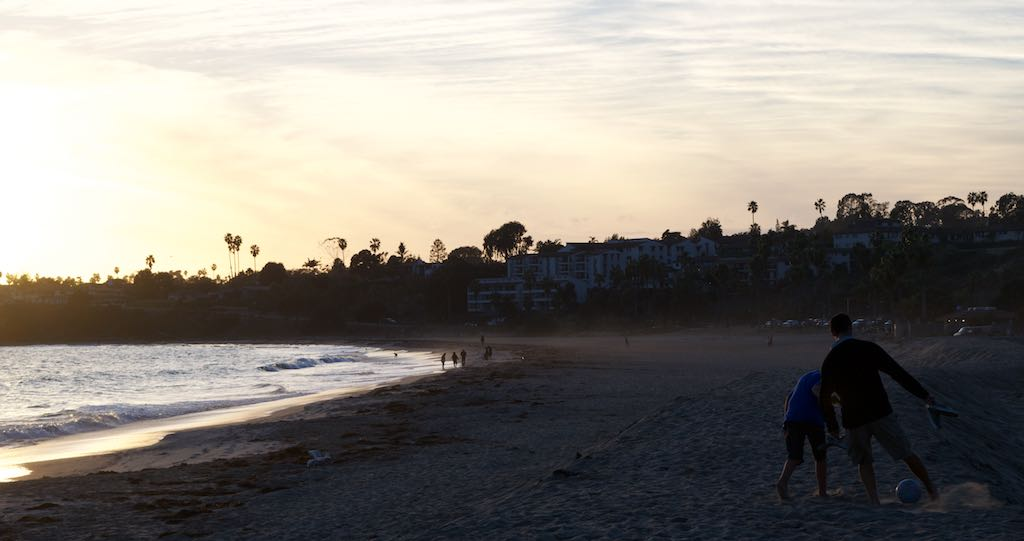 Played soccer on the beach at dusk