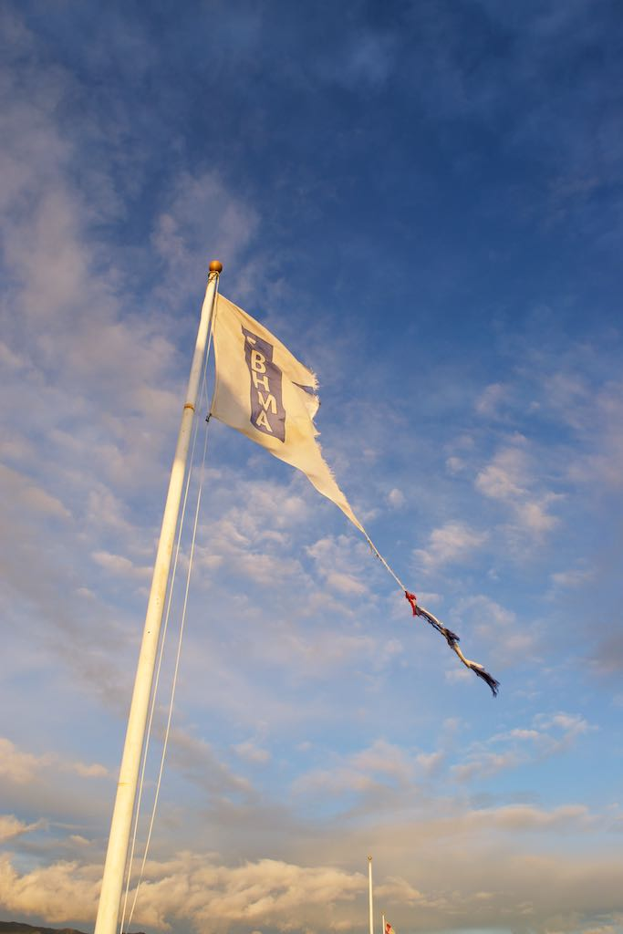 The marina's flags were all ripped by the wind.