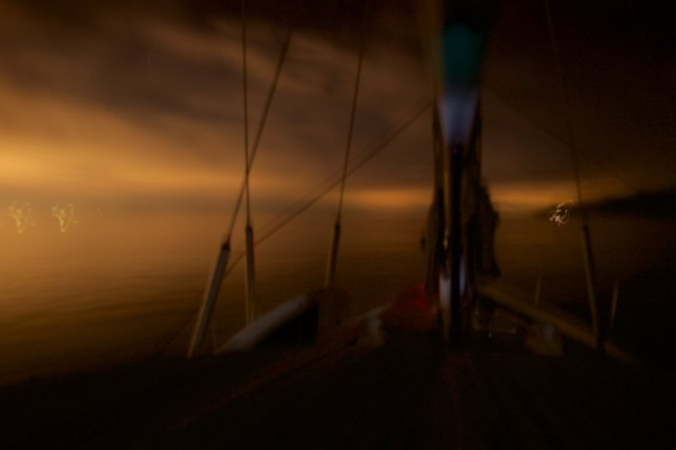 Pesto ghosting along Santa Catalina Island's Northeast coast in the dark night
