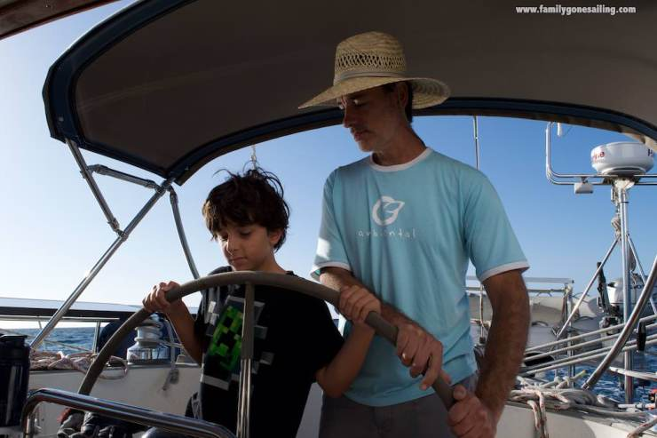 A father-son moment somewhere 50 miles offshore the Baja coast