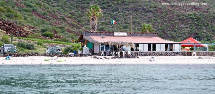 The bric-brac restaurant, a short dinghy ride away ... we spent two afternoons there