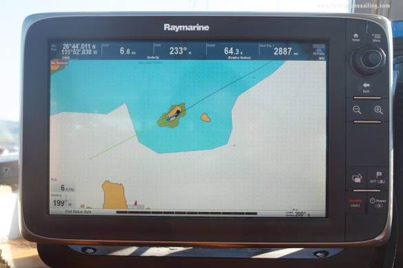 On the approach to Playa Coyote, the first evidence that the nautical charts aren't accurate on this area. On this screenshot from our chartplotter, Pesto is sailing over Isla Blanca