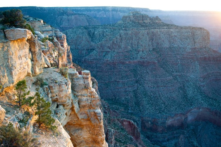 We arrived just before sunset, and had fantastic views of the Grand Canyon. Unforgettable.