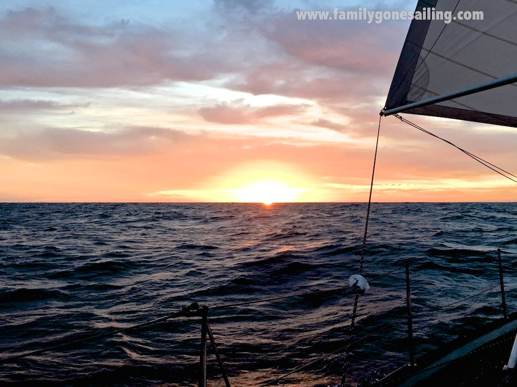 Sunrise brought us warmer waters and air, no winds and flattening seas for a smooth landfall to La Cruz