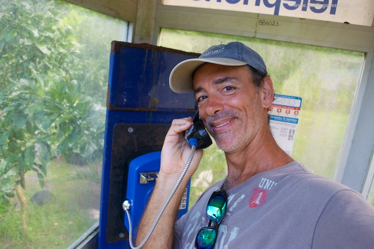 There is a phone booth inside the farm. And ... it works !