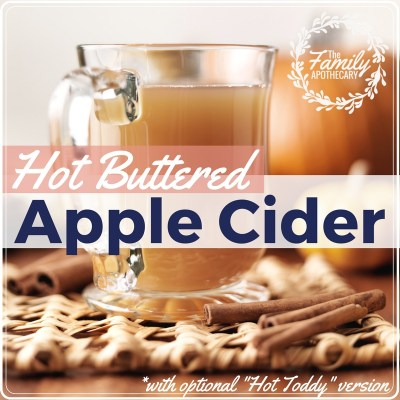 This delicious hot toddy buttered apple cider recipe will warm you to the core ;) Perfect for the holiday to serve at a party or to enjoy all by yourself! #hotapplecider #winterrecipes #hottoddy #naturalremedies ~ For more great recipes & healthy living tips, visit TheFamilyApothecary.com
