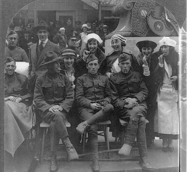 WWI doughboys and Red Cross nurses