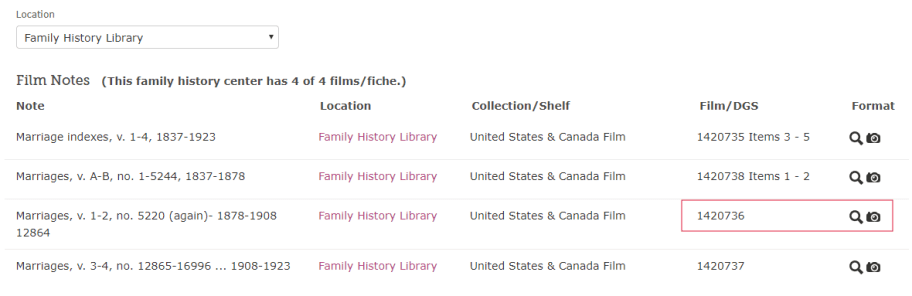 Locating original genealogy records, film notes on marriage certificate