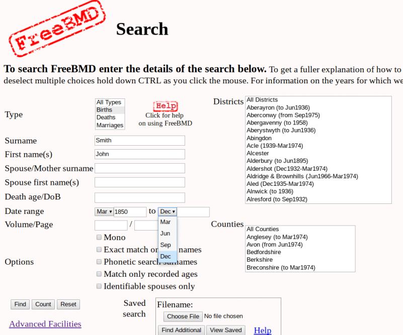 GRO Index Free Genealogy Resource, FreeBMD search