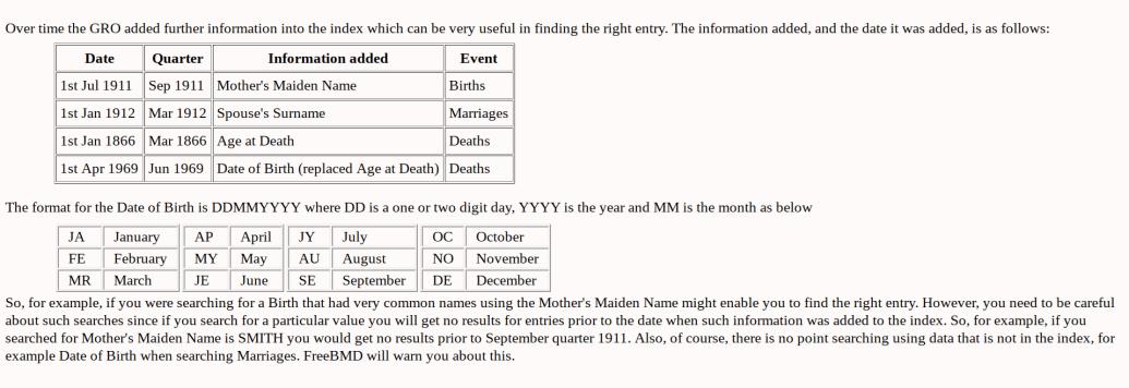 GRO Index Free Genealogy Resources, FreeBMD FAQ