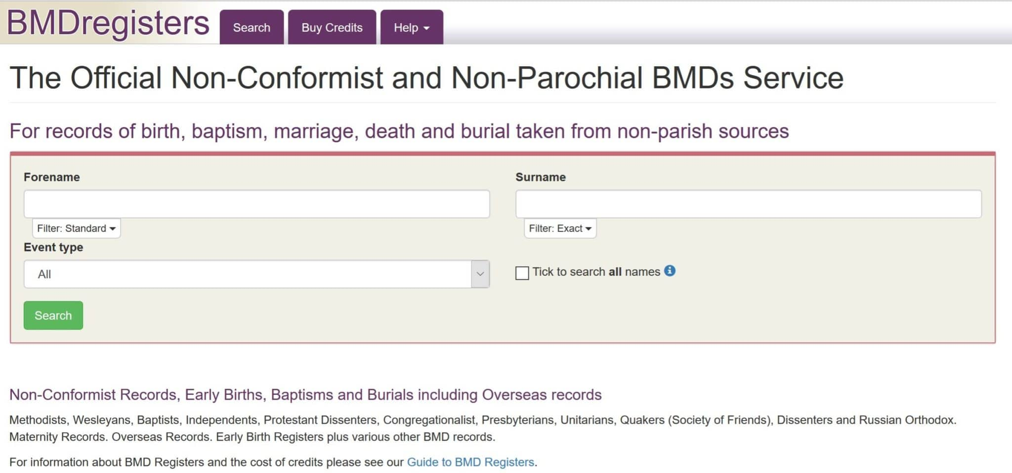 British, Irish, Scottish, Welsh Genealogy Research Guide, BMDRegisters non-comformist records
