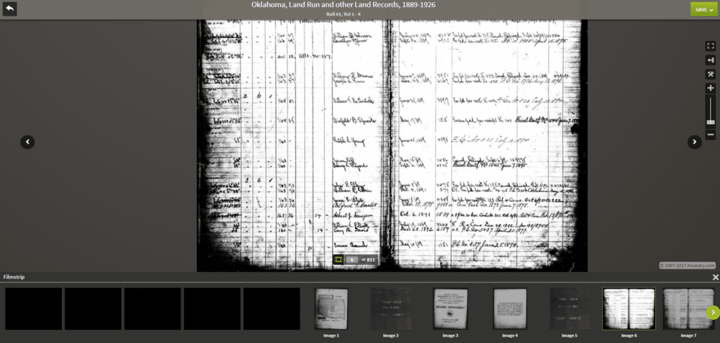 Oklahoma Tract Book Record - Ancestry Collection