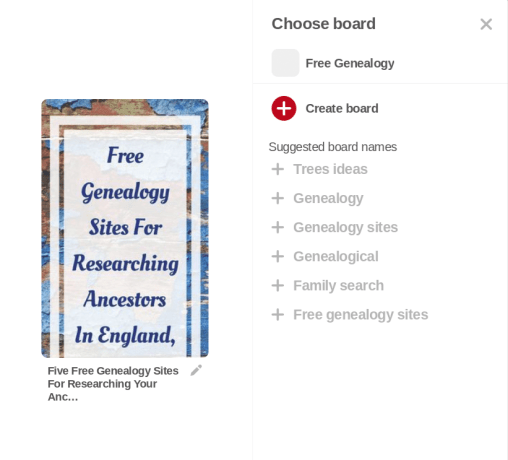 Pinterest for genealogy research, organization, and sharing, how to create a Pinterest board