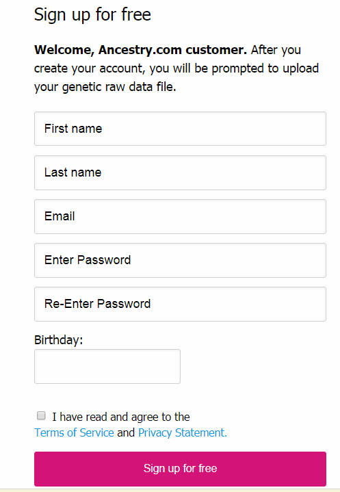 23andMe Sign Up Form