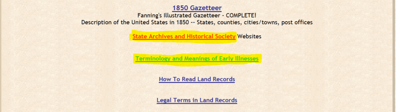 Hospital records for genealogy research, Genealogy Trails resources