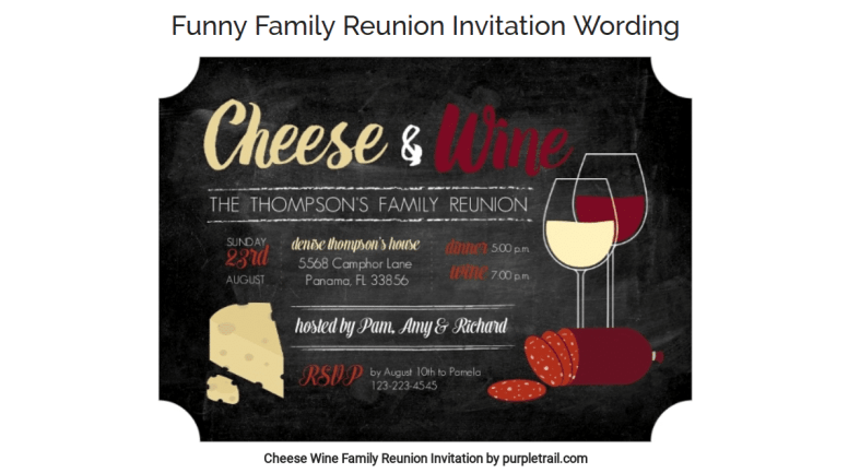Planning a family reunion, invitation sample