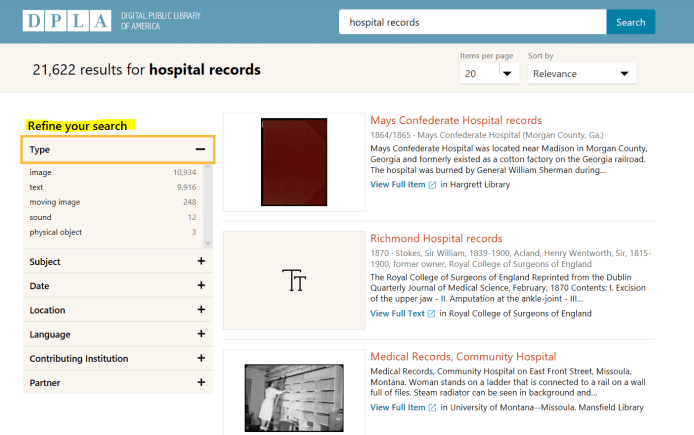 Hospital records for genealogy research, Digital Public Library of America search results