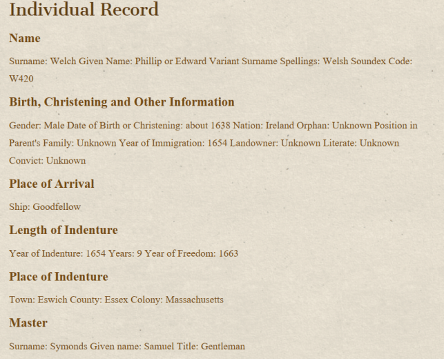 Indentured Servant Ancestors, Price Genealogy record