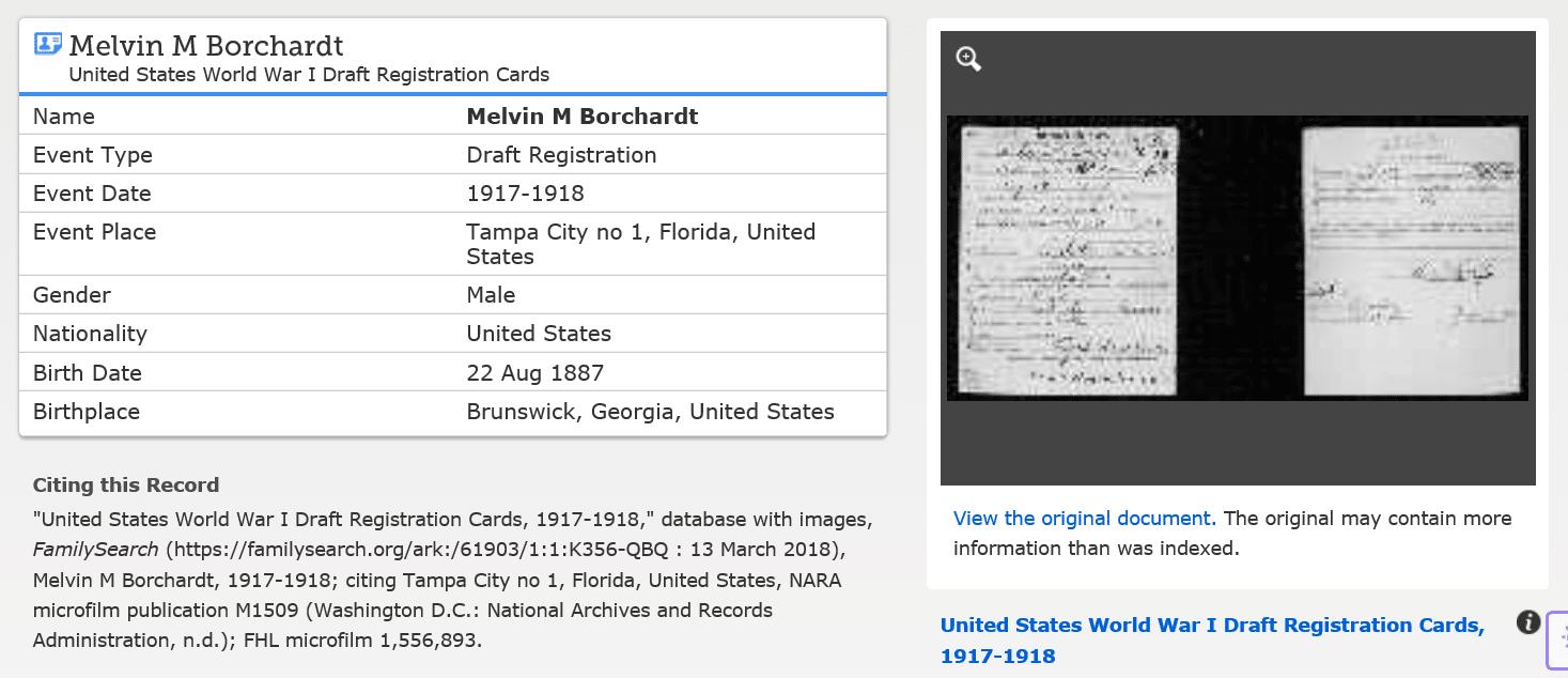 WWI Draft Registration Record