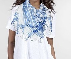 "blue&white keffiyeh, with a David star and inscription ""Am Israel Haï"""