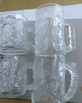 "Set of 4 McDonald's Batman Forever ""Batman"" Movie 1995 DC Comics Glass Mugs Cups"
