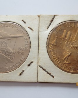 two different 1.5″ 1968  Illinois Sesquicentennial bronze medals nice pieces