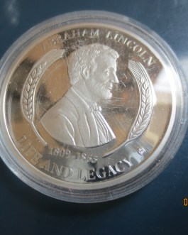 LIFE OF LINCOLN SILVER PLATED 1ST INAUGURAL ADDRESS MEDAL COIN AMERICAN MINT