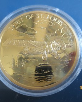 SPIRIT OF ST. LOUIS – HISTORY OF AVIATION 24k GOLD LAYERED PROOF COIN