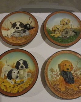 Set of 4 Field Pup Follies 3D numbered collector's plates Bradford exchange Lynn Kaatz nip